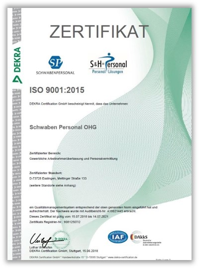 Qualitätsmanagement ISO 9001:2008 (DEKRA)